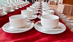 Lines of coffee cups Royalty Free Stock Image