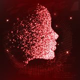 Lines connected to thinkers, symbolizing the meaning of artificial intelligence. The particles are collected in the girl`s face. Vector illustration. New Royalty Free Stock Photos