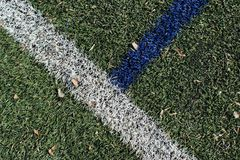 Lines crossed on the football terrain. Taken on the sport area in Belgrade Royalty Free Stock Photos