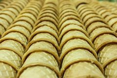 Lines of crunky cornets Royalty Free Stock Photo