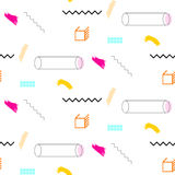 Lines and cylinders 90s seamless vector pattern. stock illustration