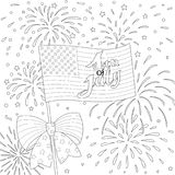 Lines design of American flag with firework, happy 4th of July for design element and coloring book page. Vector royalty free illustration