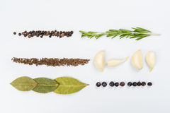 Lines of different food. On the white table Stock Images