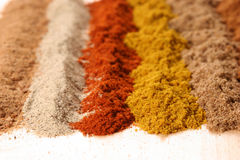 Lines of Different spices Stock Photo