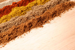 Lines of different spices stock image