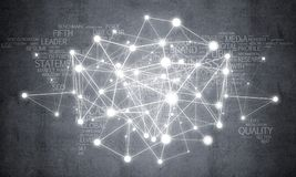 Lines and dots as networking idea drawn on cement background Stock Photos