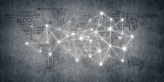 Lines and dots as networking idea drawn on cement background stock photography