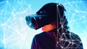Lines and dots connected and girl with vr glasses gaming in virtual cyber world royalty free stock photography
