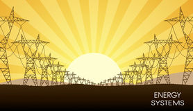 Lines of electricity transfers an evening landscape Stock Photo
