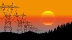 Lines of electricity transfers an evening landscape Stock Images