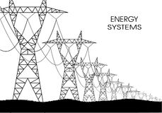 Lines of electricity transfers on a white background Royalty Free Stock Photo