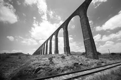 Lines. Father Tembleque's colonial aqueduct over the railway, Mexico Stock Photography