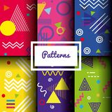 Lines figures and colors patterns set. Vector illustration Stock Photo