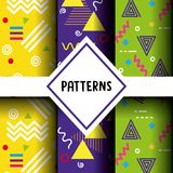 Lines figures and colors patterns set. Vector illustration Stock Image