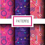 Lines figures and colors patterns set. Vector illustration Stock Photos