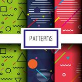 Lines figures and colors patterns set. Vector illustration Royalty Free Stock Photo