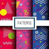 Lines figures and colors patterns set. Vector illustration Royalty Free Stock Photos