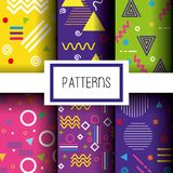 Lines figures and colors patterns set. Vector illustration Royalty Free Stock Photography