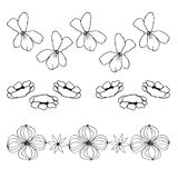 Lines of flowers, liner  illustration Stock Photos