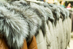 Lines of Fur Coats Royalty Free Stock Images