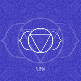 Lines geometric illustration of one of the seven chakras - Ajna on blue background, the symbol of Hinduism, Buddhism. Royalty Free Stock Image