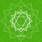 Lines geometric illustration of one of the seven chakras - Anahata, the symbol of Hinduism, Buddhism. Stock Photography