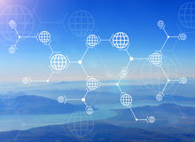 Lines with globes on nature background of mountain Royalty Free Stock Images