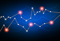 Lines in graphs connect Networking luminous points. Stock Image