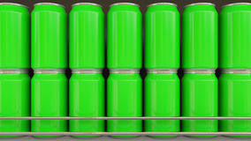 Lines of green cans at grocery store. Carbonated drinks or beer on supermarket shelf. Modern recycling packaging. 3D Royalty Free Stock Photos