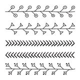 Lines hand drawn ornament frame vector set illustration Royalty Free Stock Photos