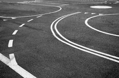 The lines on the highway. Markings on the village road Stock Photography