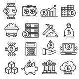 Lines icon set bitcoin crypto Stock Image