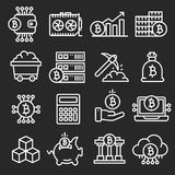 Lines icon set bitcoin crypto. Innovations business Stock Images