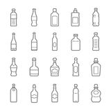 Lines icon set - bottle and beverage. Icons vector illustration Stock Image