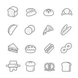 Lines icon set - bread and bakery Royalty Free Stock Photo