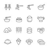 Lines icon set - Eastern food Stock Photo