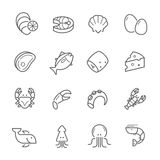 Lines icon set - raw food material Stock Photography