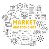 Lines icons illustration circle market and economics. Vector lines icons illustration circle market and economics Royalty Free Stock Image