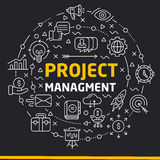 Lines icons illustration circle project management Royalty Free Stock Photos