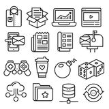 Lines icons pack collection. Vector set lines icons pack collection lineart Stock Photography