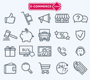 Lines icons set, e-commerce, shopping Royalty Free Stock Photo