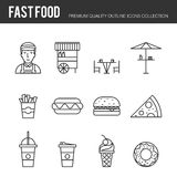 Lines icons set of fast food. And beverages, mobile street food, popular various fast-food culinary object. Modern outline vector illustration design, simple Stock Image