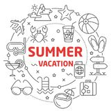 Lines Illustration Flat Circle and icons summer vacation. Lines Illustration Flat Circle and icons stock illustration