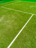 The lines intersect of tennis court. Tennis court on the vacation time Stock Photo