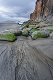Lines leading to rocks on beach. Royalty Free Stock Photos