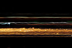 Lines of Light. Colored lines of light created by shooting from a moving car Royalty Free Stock Photo