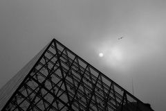Lines and louvre. Lines and sky louvre and bird Royalty Free Stock Photos