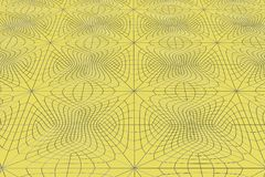 Lines of metal wires on yellow surface. Abstract geometrical pattern. 3D image. 3D rendering illustration Royalty Free Stock Photography