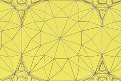 Lines of metal wires on yellow surface. Abstract geometrical pattern. 3D image. 3D rendering illustration Royalty Free Stock Photo