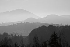 Lines of mountain in fog. Black and white Royalty Free Stock Photography